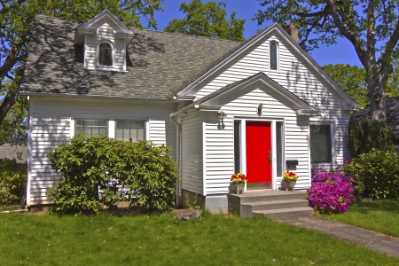 House with a red door Hood River Oregon  Stock Photo