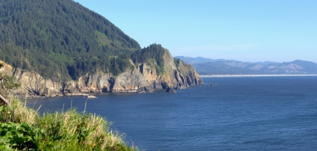Cape Falcon viewpoint on Oswald West state park Oregon panorama Stock Photo - 19604608