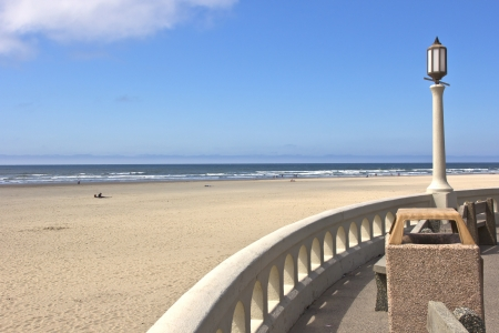 Light post and beach front overlook in Seaside Oregon