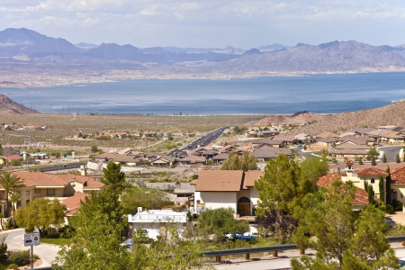 meade: Lake Meade and Boulder city suburb with surrounding mountains Nevada
