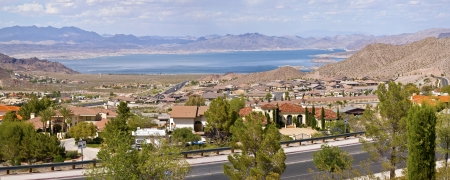 Boulder City Nevada suburbs and lake Meade with surrounding mountains panorama