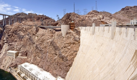 powe: Hoover Dam electrical power pland Nevada panorama
