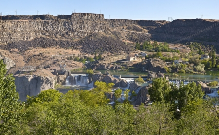 Panoramic view of Shoshone Falls in Twin Falls state park Idaho