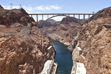 Hoover Dam Canyonland and bridge connecting two states Nevada - Arizona