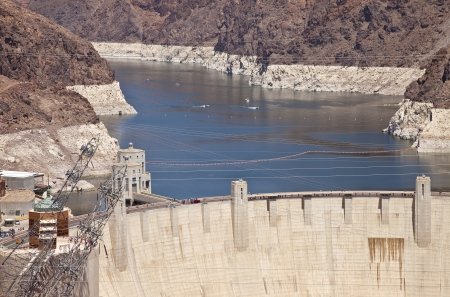 powe: Hoover Dam electrical power pland and tourists Nevada