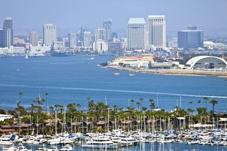 View of San Diego skyline hazy atmosphere from Point Loma Island California  photo