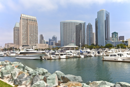 San Diego downtown marina and skyline buildings