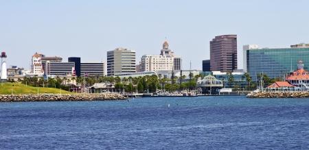 Long Beach skyline and marina California  Stock Photo
