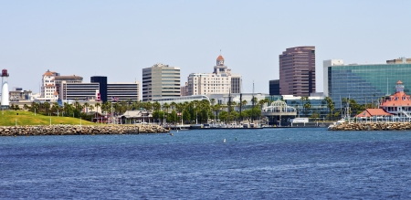 Long Beach skyline and marina California  Stock Photo