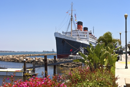 The Queen Mary ship moored in Long Beach California