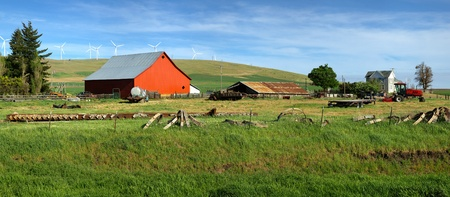 Red barn in a country farm eastern Washington Pacific NW  photo