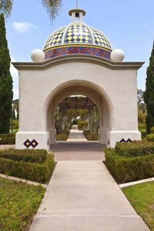balboa: Balboa Park arches promenade and plants in San Diego California