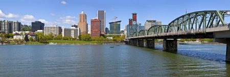 Portland Oegon skyline panorama and the Willamette river  Stock Photo