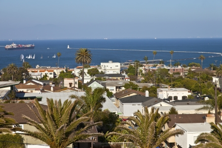 san pedro: San Pedro neighborhood and a view of the Pacific ocean  Stock Photo