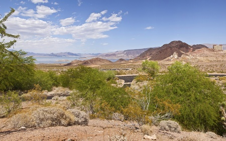 meade: Lake Meade panorama of the surrounding landscape near Hoover Dam Nevada  Stock Photo