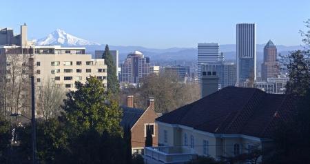 portland oregon: Portland Oregon downtown skyline panorama with Mt  Hood  Stock Photo