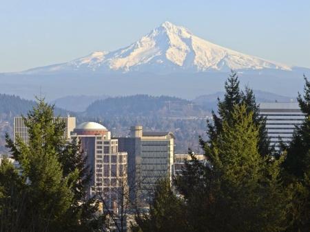 Mt  Hood and downtown Portland Oregon buildings