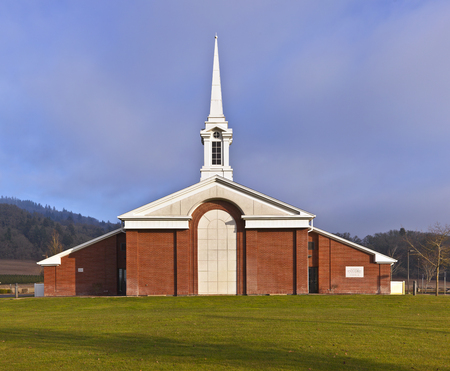 house of worship: Architecture of a Church of Latter-day Saints Willamette Valley Oregon