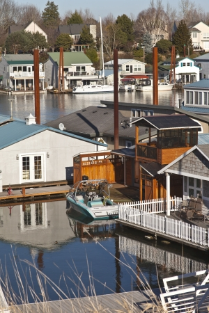 pacific northwest: Floating homes in Portland Oregon pacific northwest  Stock Photo