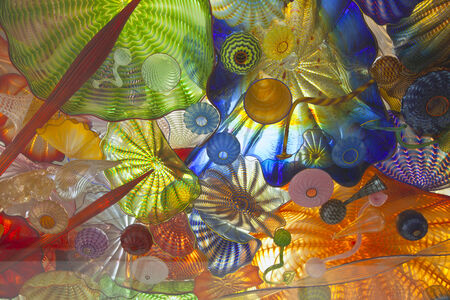 tacoma: Glass art on a pedestrian ceiling in Tacoma Washington