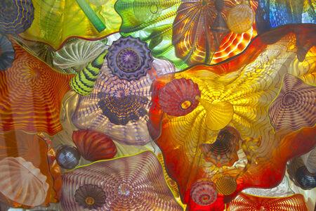 tacoma: Glass art on a pedestrian ceiling in Tacoma Washington