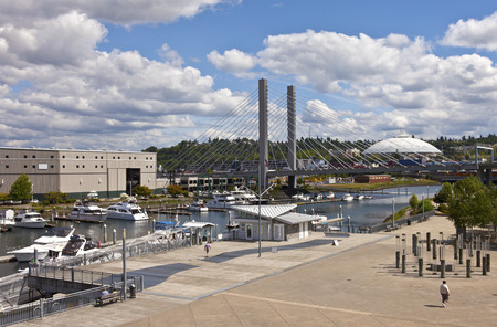 tacoma: Dock street marina and bridge in Tacoma Washington  Stock Photo