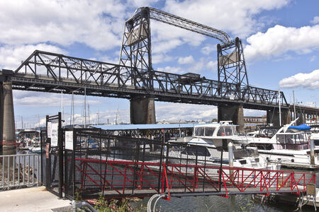 tacoma: Port of Tacoma bridge and marina Tacoma Washington  Stock Photo