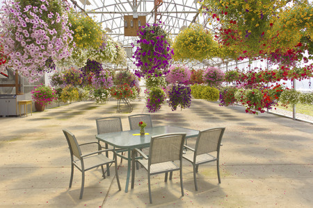 enclosed: Hanging flower baskets with enclosed outdoor seating Oregon