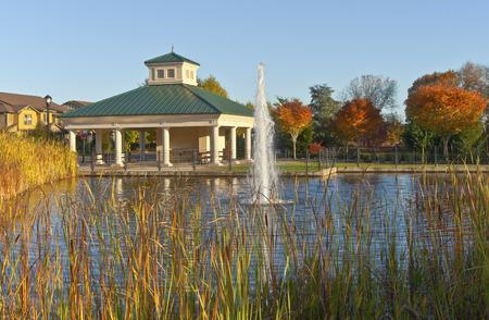 public park: Parque p�blico y fuente Willsonville Oregon. Foto de archivo