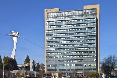 portland oregon: OHSU building and the aerial tram tower in Portland Oregon. Editorial