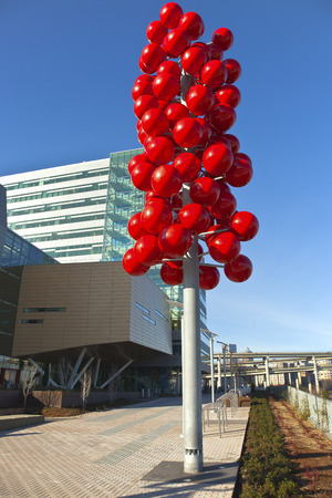 portland oregon: Red balls on a pole Portland Oregon