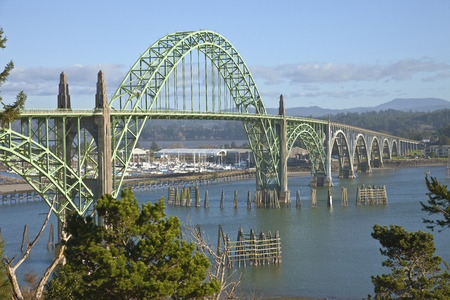 Yaquina Bay Bridge panorama Newport Oregon.