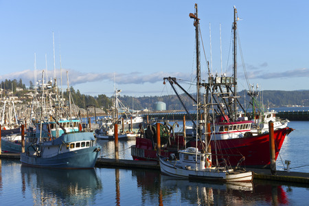 pulleys: Fishing boat moored in Newport Oregon.