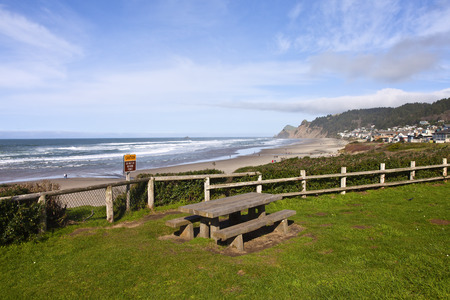 beach front: Lincoln City neighborhood homes on the beach front Oregon. Stock Photo