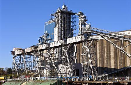 portland oregon: Grain elevators barge and tower Portland Oregon.