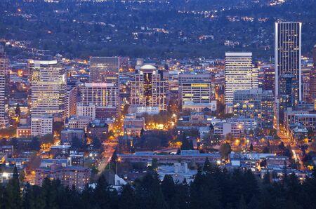 portland oregon: Downtown Portland Oregon city lights blue hour. Stock Photo