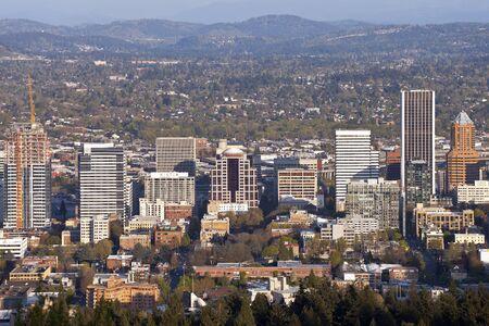portland: Portland Oregon downtown skyline from Pittock Mansion.