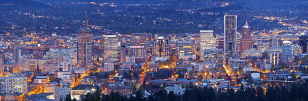 blue hour: Downtown Portland Oregon city lights blue hour panorama.
