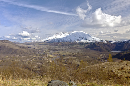 helen: Mt. St. Helen with dramatic skies a panoramic view Washington state.