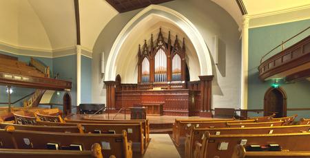 portland oregon: Church interior and organ pipes Portland Oregon.