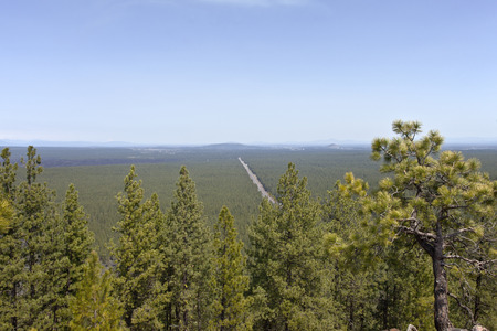 butte: Hazy view of route 97 north in central Oregon from Lava Butte.