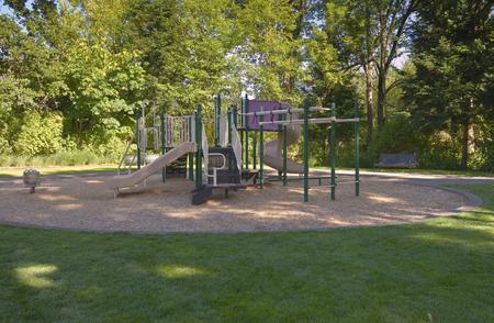 children playground: Children playground Fairview Village park Oregon. Stock Photo