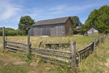 willamette: Old country barn fences and trees Willamette valley Oregon. Stock Photo