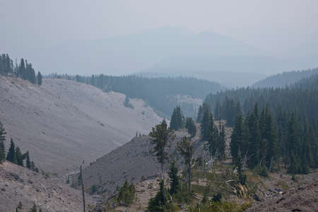 mt  hood: Mt. Hood wilderness and surroundings under heavy smoke from wildfires Oregon.