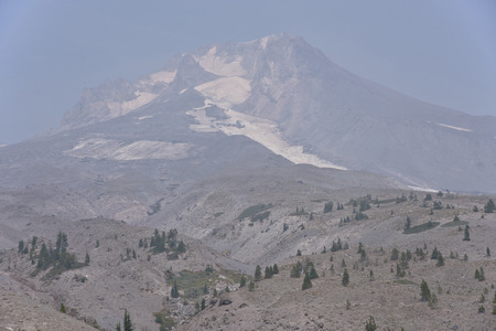mt  hood: Mt. Hood Oregon under heavy fire smoke. Stock Photo