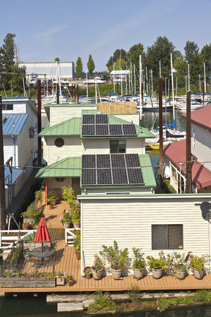 rooftops: Rooftops and floating houses in a marina portland Oregon. Stock Photo