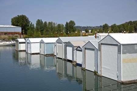 portland oregon: Motorboat garages, storage in a river inlet Portland Oregon.