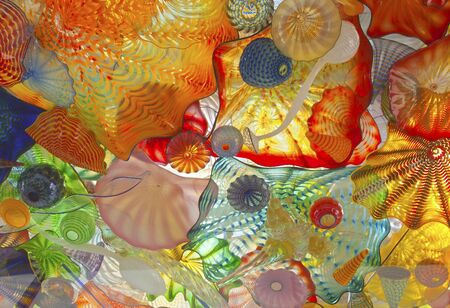 compacted: Glass art on a pedestrian ceiling in Tacoma Washington.