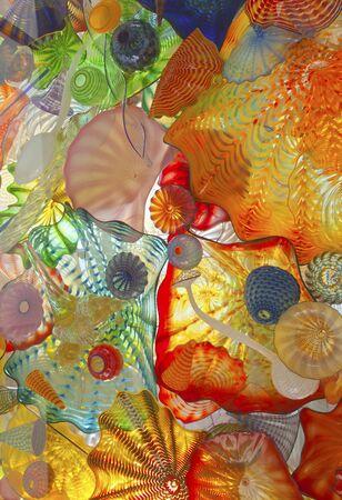 tacoma: Glass art on a pedestrian ceiling in Tacoma Washington.