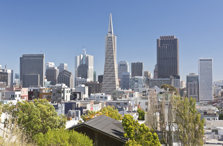 high rises: San Francisco skyline and surrounding residential area.